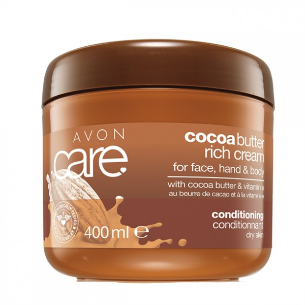Avon Care Pečující krém na obličej, ruce a tělo s kakaovým máslem a vitamínem E 400 ml