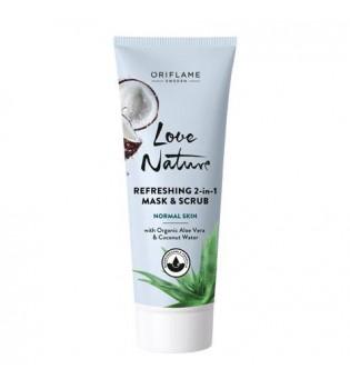 Osvěžující maska a peeling 2 v 1 s bio aloe vera a kokosovou vodou Love Nature 75 ml